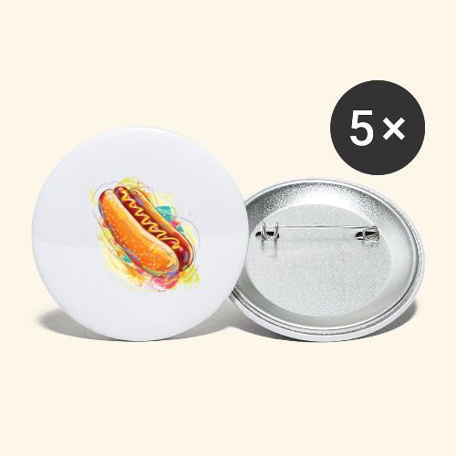 Hot Dog - Paquete de 5 chapas grandes (56 mm)