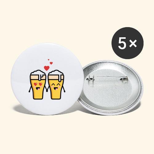 Beer love kawaii - Lot de 5 grands badges (56 mm)