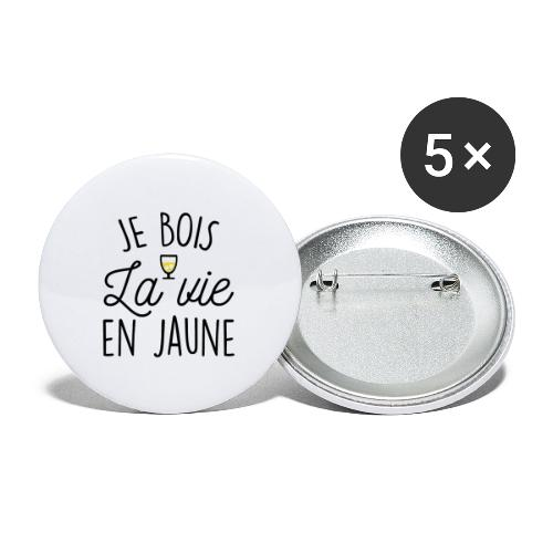 JE BOIS LA VIE EN JAUNE - Lot de 5 grands badges (56 mm)