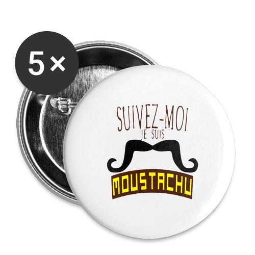 citation moustache suivez moi moustachu - Lot de 5 grands badges (56 mm)