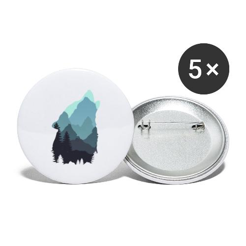 Wolf - Buttons large 2.2''/56 mm(5-pack)