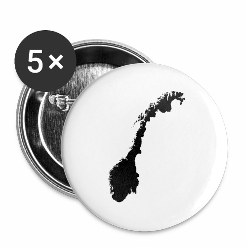 Norge_sort_transparent - Stor pin 56 mm (5-er pakke)