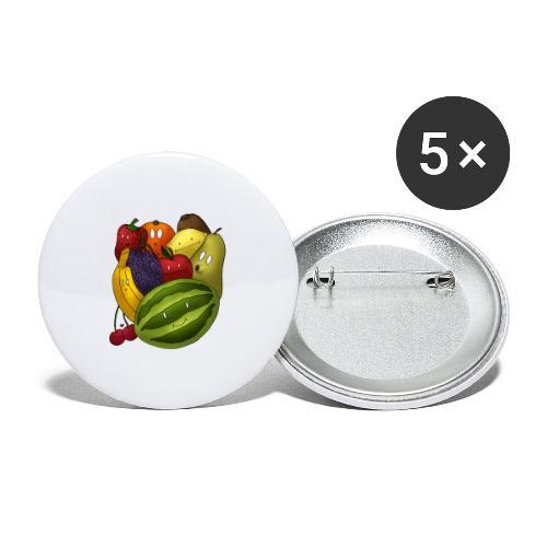 Happy Fruits - Buttons groß 56 mm (5er Pack)