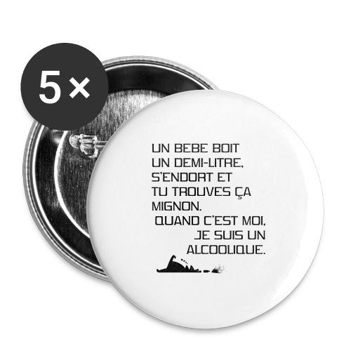 Alcoolique - Lot de 5 grands badges (56 mm)