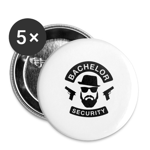 Bachelor Security - JGA T-Shirt - Bräutigam Shirt - Buttons groß 56 mm (5er Pack)