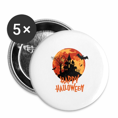 Bloodmoon Haunted House Halloween Design - Buttons groß 56 mm (5er Pack)