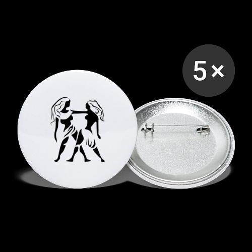 STERNZEICHEN ZWILLING - Buttons groß 56 mm (5er Pack)