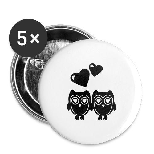 verliebte Eulen - Buttons groß 56 mm (5er Pack)