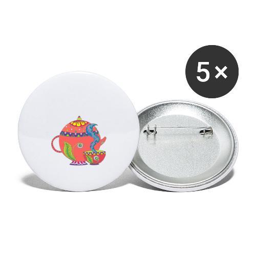 L'heure du thé - Lot de 5 grands badges (56 mm)