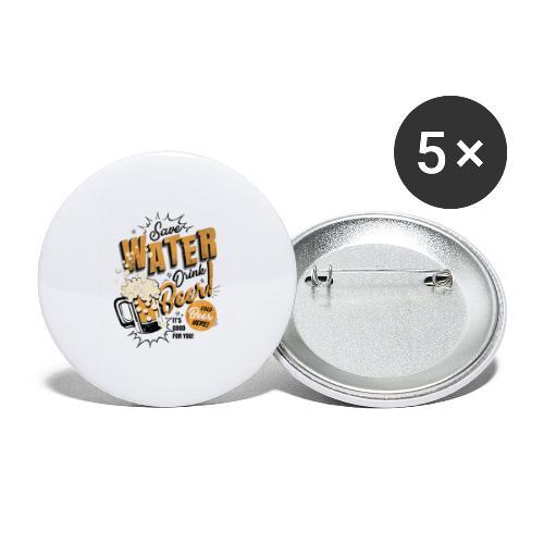Save water - Stor pin 56 mm (5-er pakke)