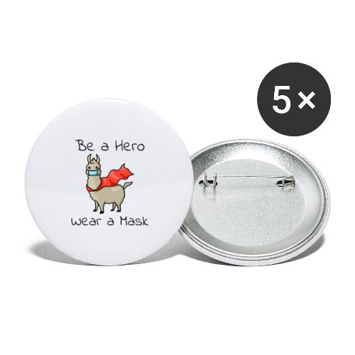 Sei ein Held, trag eine Maske - fight COVID-19 - Buttons groß 56 mm (5er Pack)