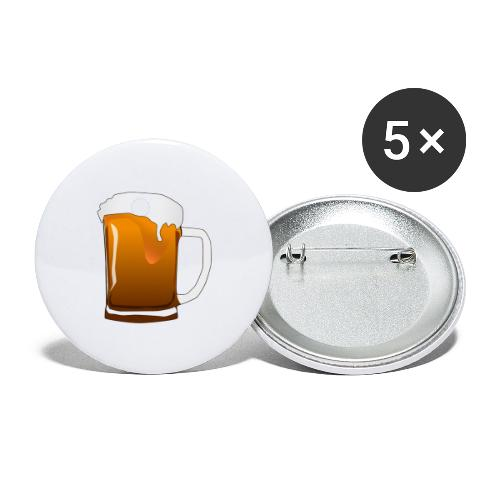 Cartoon Bier Geschenkidee Biermaß - Buttons groß 56 mm (5er Pack)