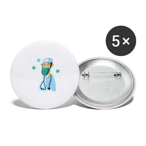 Cartoon Doktor Geschenkidee gezeichnet - Buttons groß 56 mm (5er Pack)