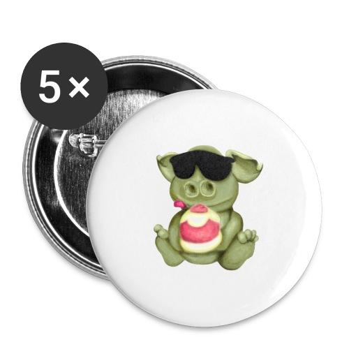 Monsterchen - Buttons groß 56 mm (5er Pack)