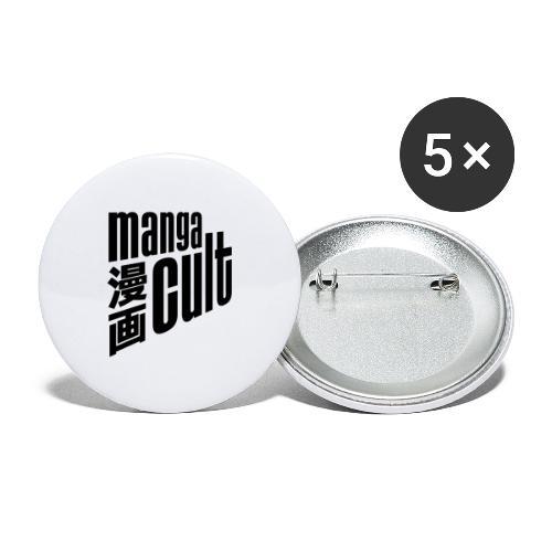Manga Cult Logo Schwarz - Buttons groß 56 mm (5er Pack)