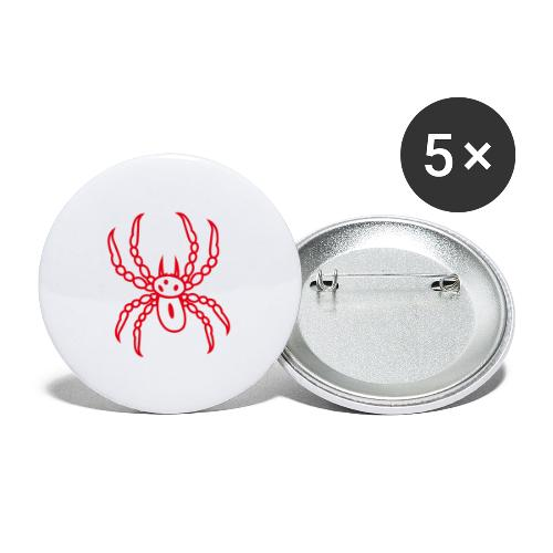 Spinne rot - Buttons groß 56 mm (5er Pack)