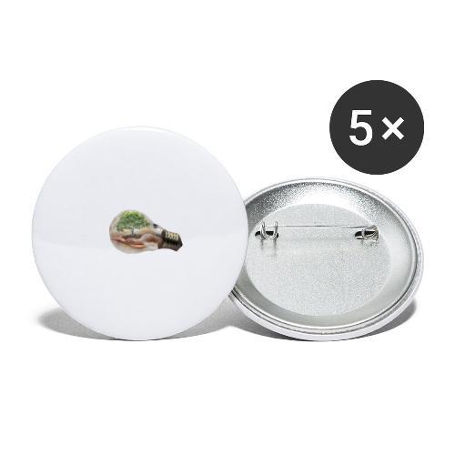 Baum und fliege in einer Glühbirne Geschenkidee - Buttons groß 56 mm (5er Pack)