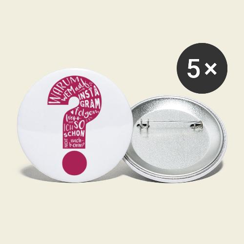 Warum folgen - Design schwarz - Buttons groß 56 mm (5er Pack)