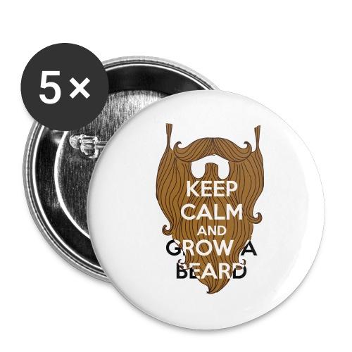 Calm and Beared - Lot de 5 grands badges (56 mm)