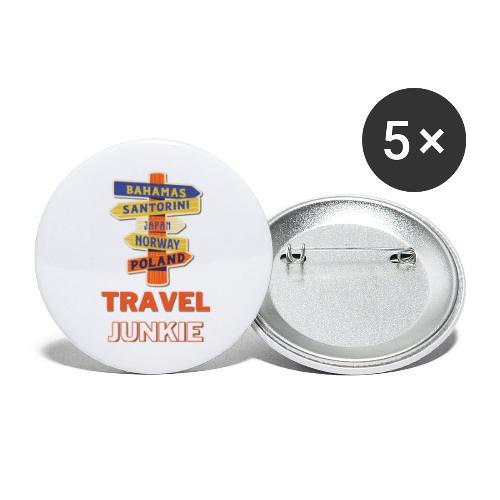 traveljunkie - i like to travel - Buttons groß 56 mm (5er Pack)