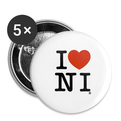I heart NI - Buttons large 2.2''/56 mm(5-pack)