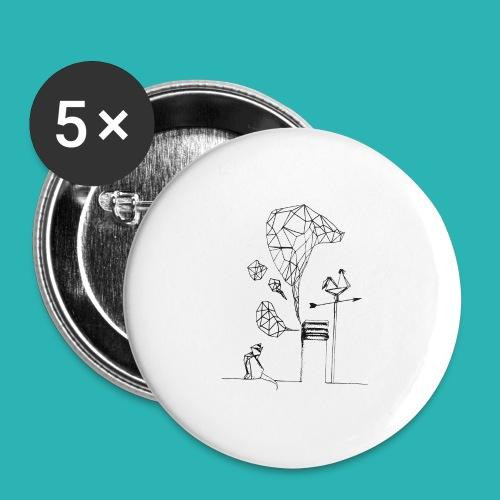 Carta_gatta-png - Confezione da 5 spille grandi (56 mm)