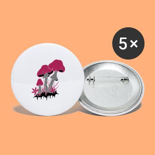 champignons - Lot de 5 grands badges (56 mm)