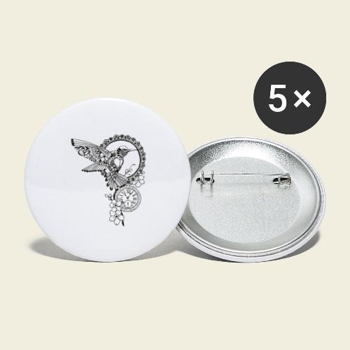 Kolibri-Uhr - Buttons groß 56 mm (5er Pack)