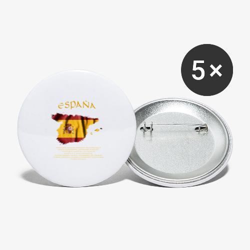 Spanische Flagge - Buttons groß 56 mm (5er Pack)