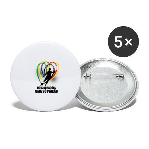 Fußball-Shirt Brasilien - Deutschland - Buttons groß 56 mm (5er Pack)