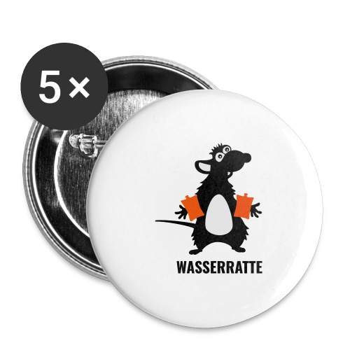 Wasserratte mit Schwimmflügeln - Buttons groß 56 mm (5er Pack)