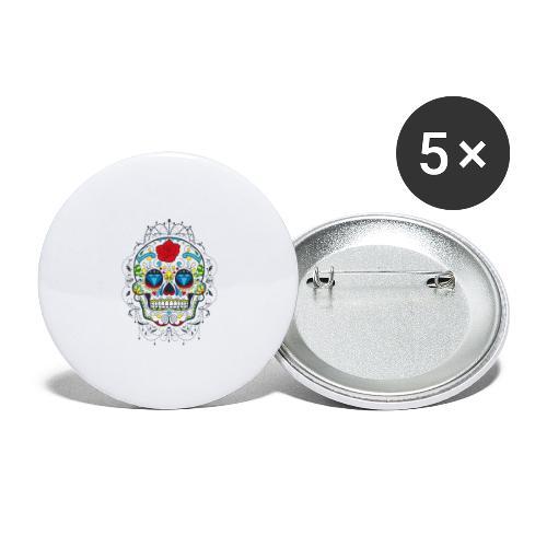 Rose und Diamantschädel - Buttons groß 56 mm (5er Pack)