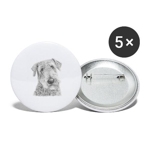 airedale terrier - Buttons/Badges stor, 56 mm (5-pack)