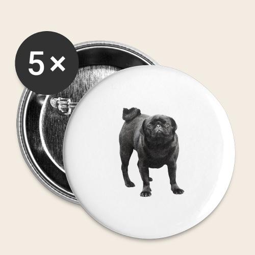 schwarzer Mops - Buttons groß 56 mm (5er Pack)