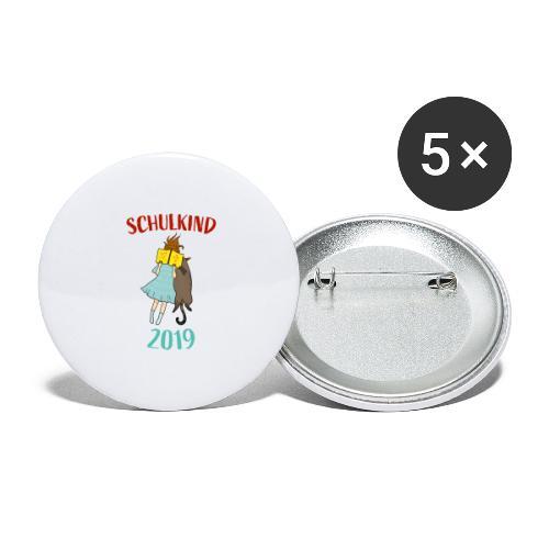 Schulkind 2019   Einschulung und Schulanfang - Buttons groß 56 mm (5er Pack)