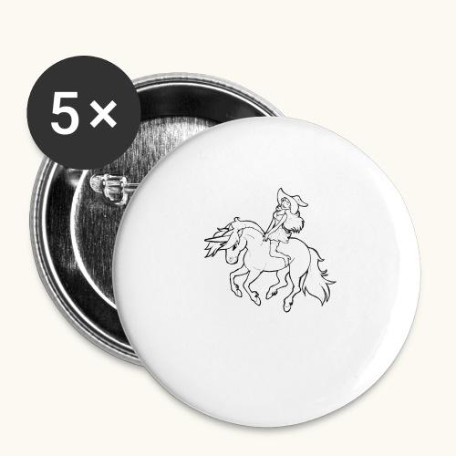 Monter une sorcière sexy sur une licorne. - Lot de 5 grands badges (56 mm)