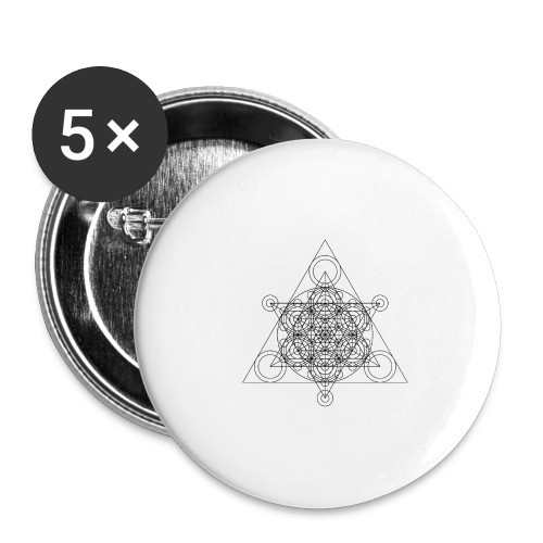 Sacred Geometry Seed, Flower. Tree Black - Buttons large 2.2''/56 mm(5-pack)