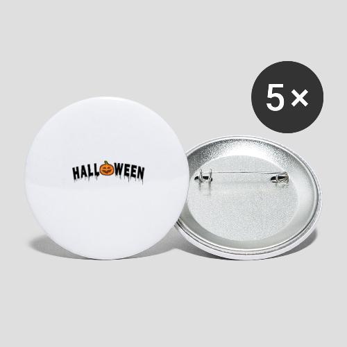 HALLOWEEN - mit Kürbis in Schwarz - Buttons groß 56 mm (5er Pack)