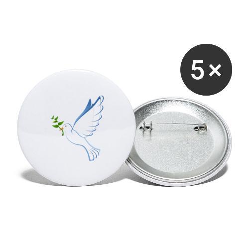 Friedenstaube - Buttons groß 56 mm (5er Pack)