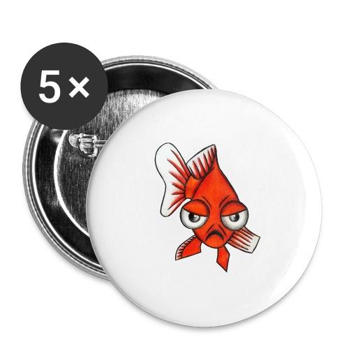 Angry Fish - Lot de 5 grands badges (56 mm)
