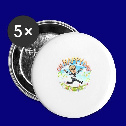 Happy Day - Stor pin 56 mm (5-er pakke)