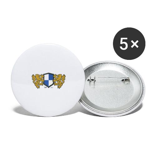 loewen wappen blau weiss - Buttons groß 56 mm (5er Pack)