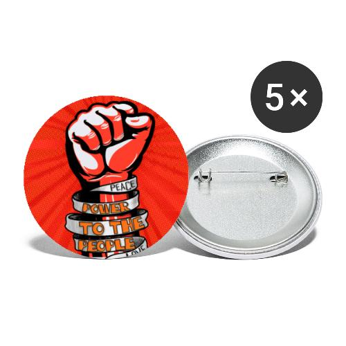 Peace, Power to the people, love, fist pump - Buttons large 2.2''/56 mm(5-pack)