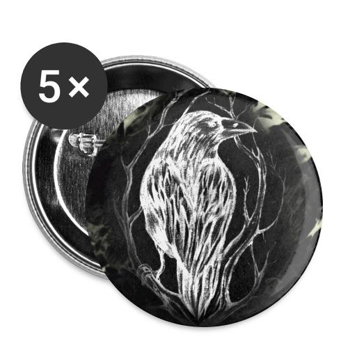 Kuusannakorppi_blackwhite - Rintamerkit isot 56 mm (5kpl pakkauksessa)