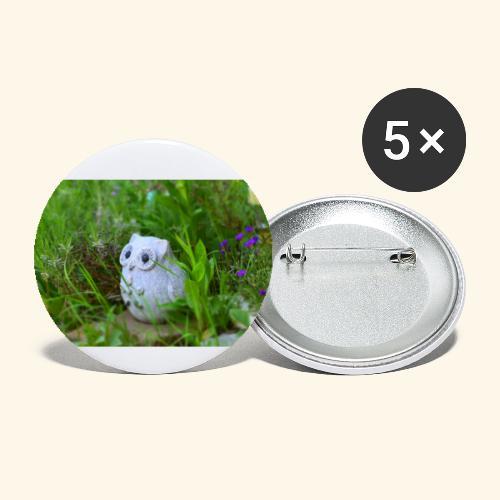Eule - Buttons groß 56 mm (5er Pack)