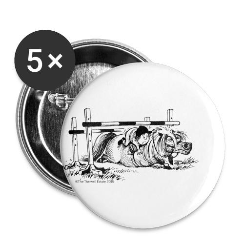 Thelwell Cartoon Pony Sturz - Buttons groß 56 mm (5er Pack)