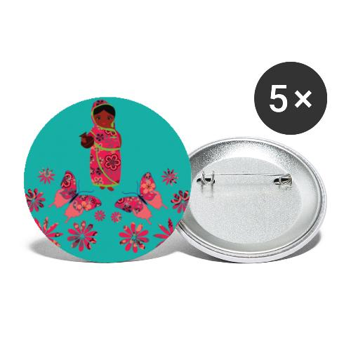 Lovedesh Art: Ira Kolshi Doll & Butterflies - Buttons large 2.2''/56 mm (5-pack)