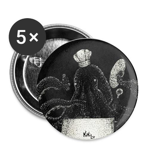 Octo - chef (Pulpo - cinero) - Paquete de 5 chapas grandes (56 mm)