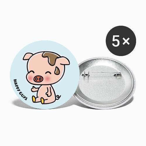 Schwein - Buttons groß 56 mm (5er Pack)
