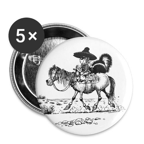 Thelwell Cowboy mit einem Stinktier - Buttons groß 56 mm (5er Pack)